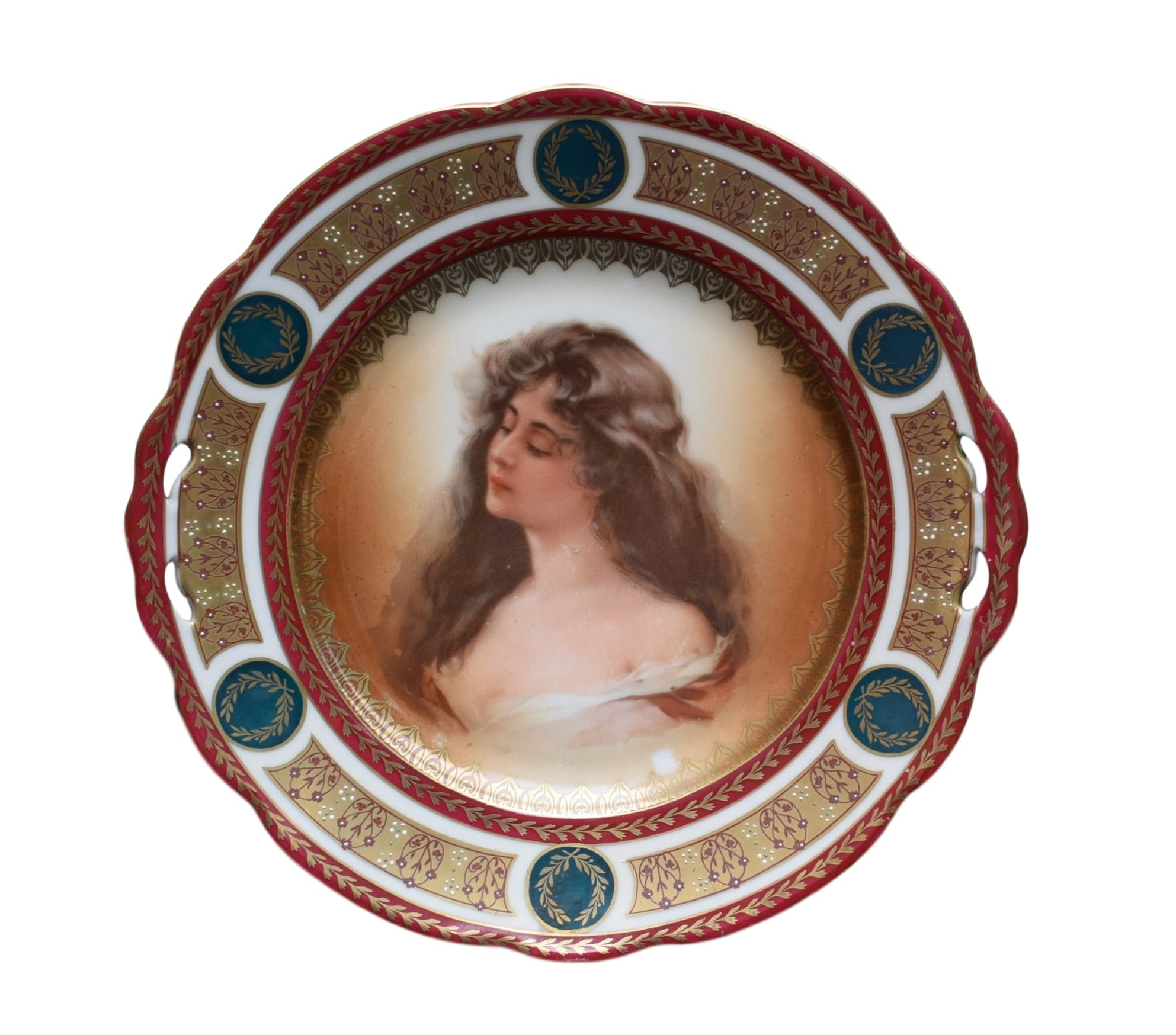 MZ Austria Antique Royal Vienna Porcelain Lady Portrait Plate