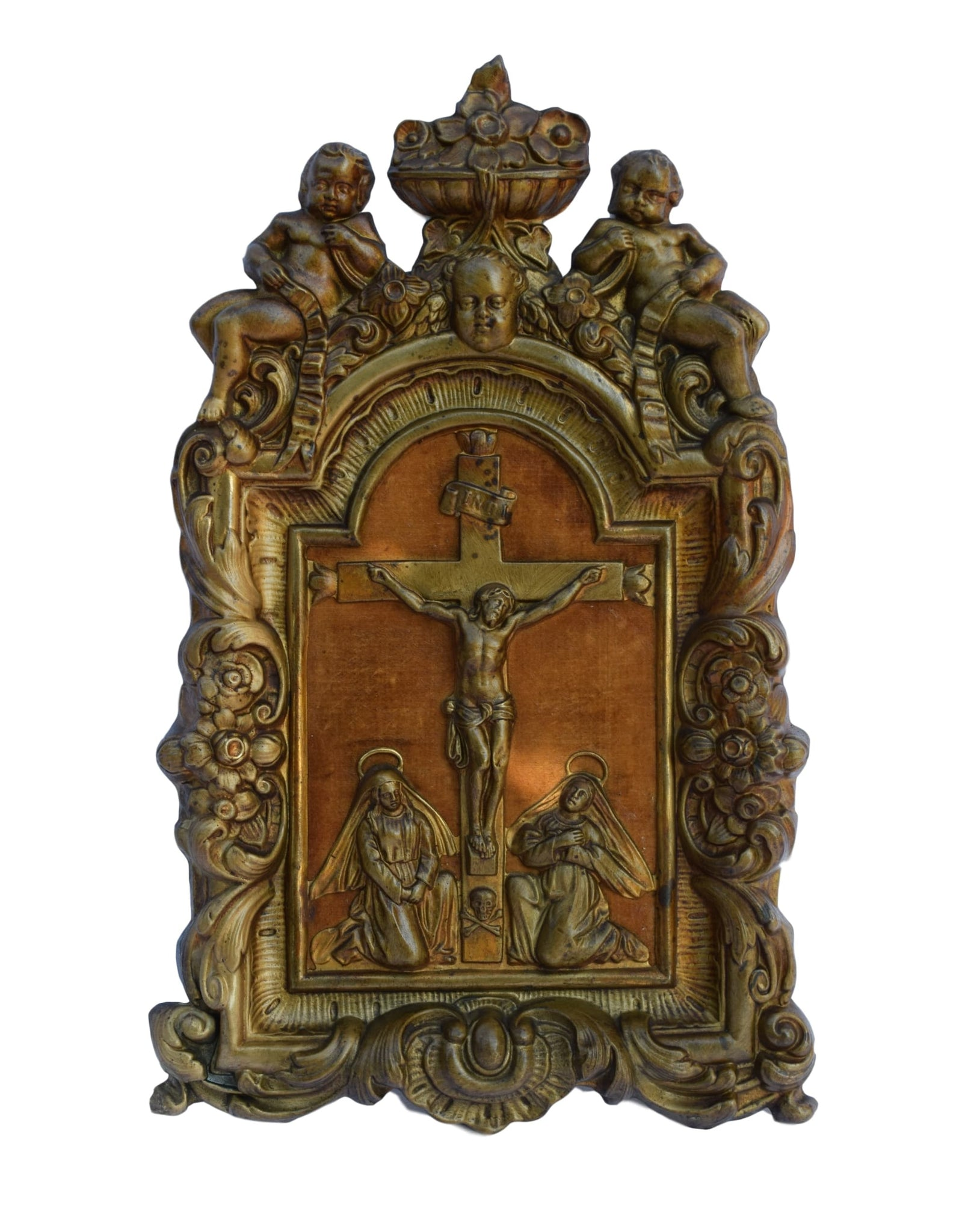 Italian Antique Baroque Wall Crucifix - Repousse Brass Religious Cross - Church Altar Crucifix 19th.C Frame