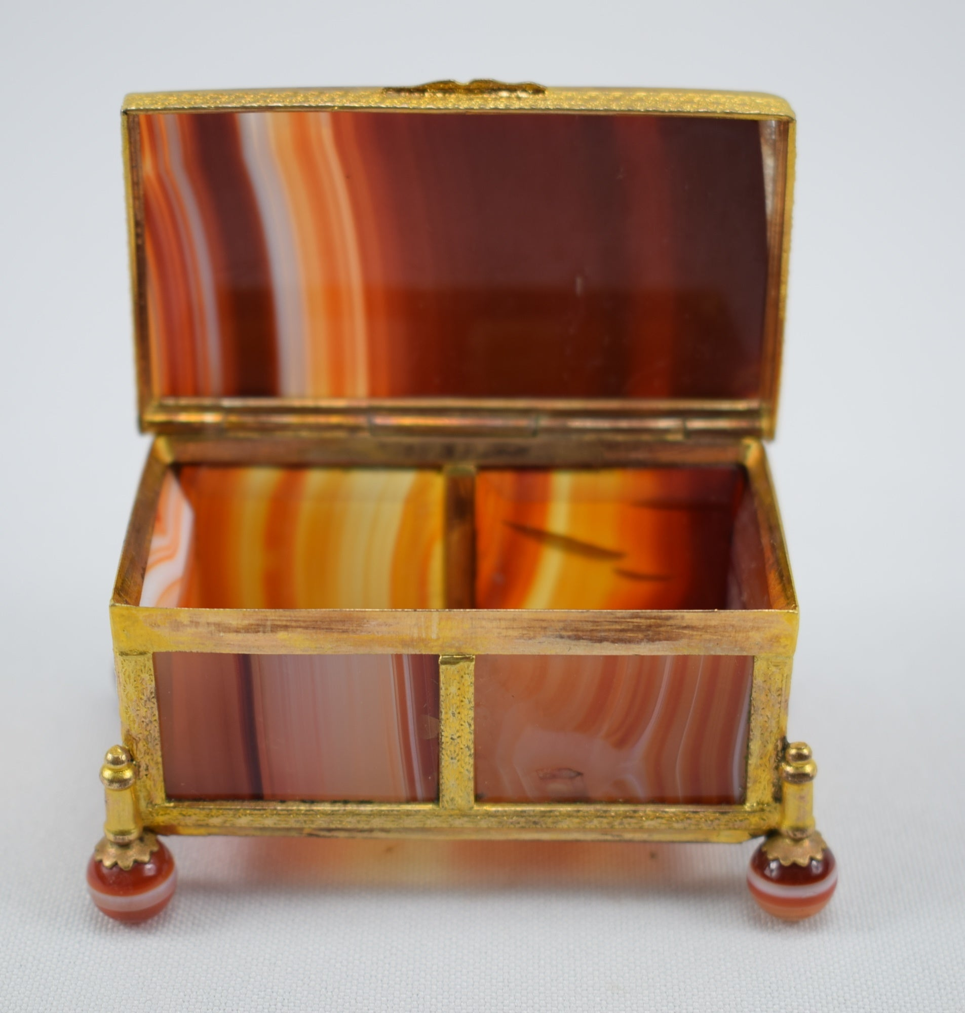 Antique French Orange Banded Agate Panel Gilded Brass Hinged Box Snuff Box Jewelry Case 19th Century