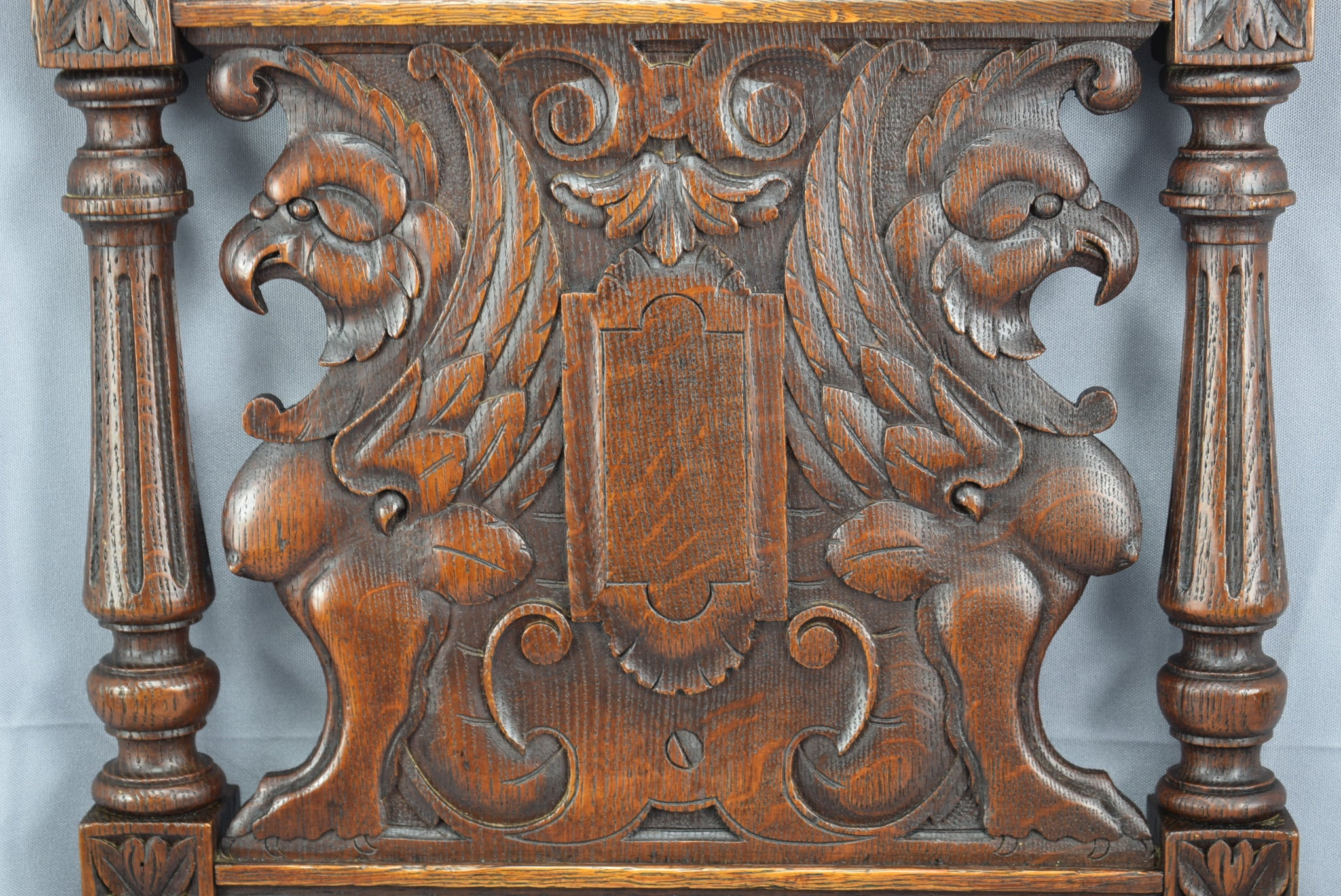 Architectural 19th Century French Hand Carved Oak Wood Wall Panel of Victorian Griffin Sphinx Chimera Sculpture Carving