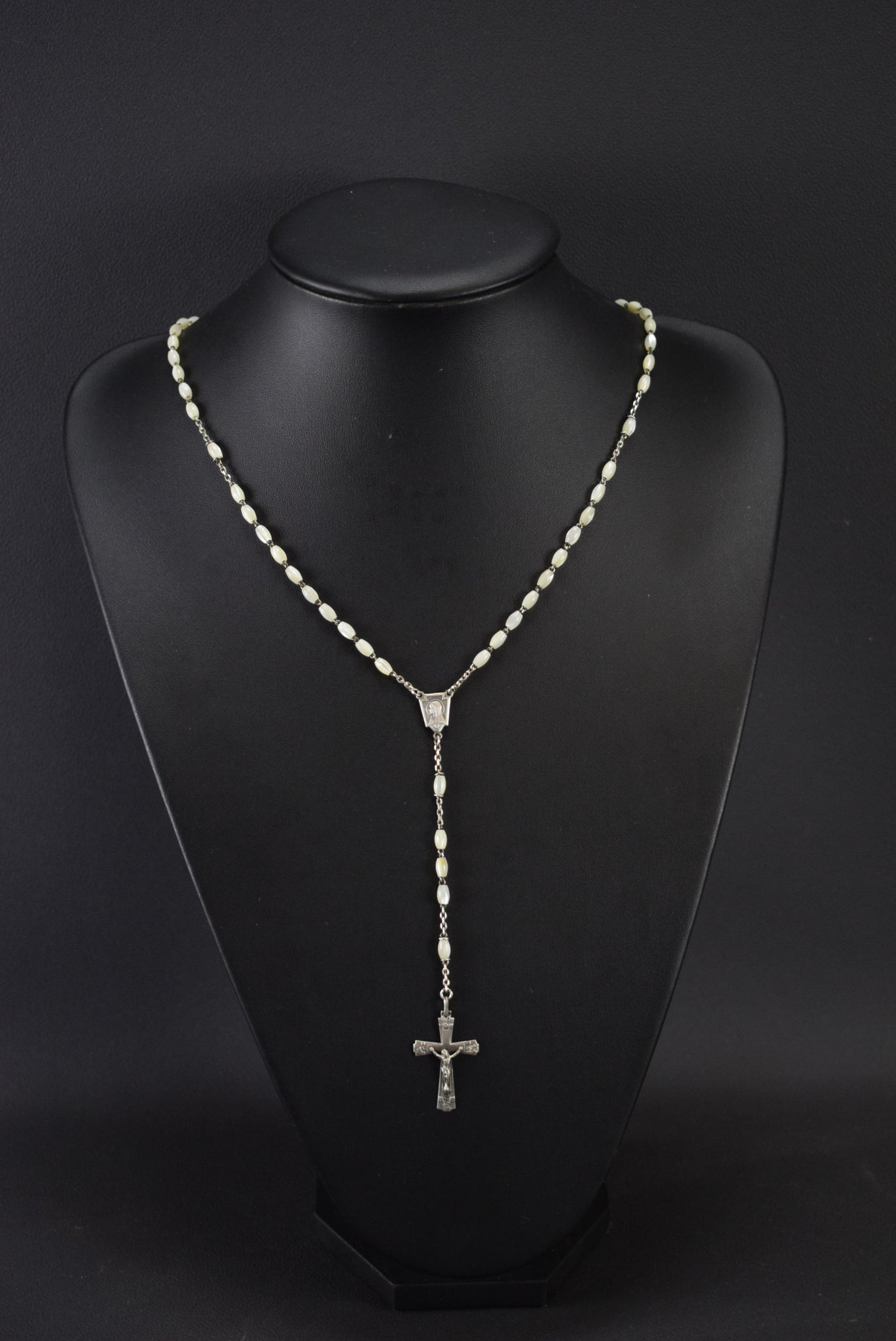 Art Deco Mother of Pearl Rosary Sterling Silver