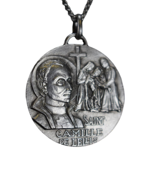 Saint Camillus of Lellis Sterling Silver Medal Patron of the Sick by Tshudin