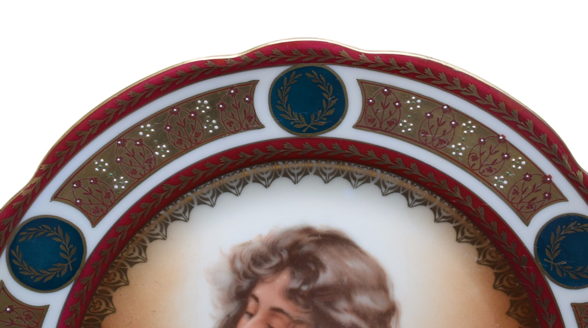 MZ Austria Antique Royal Vienna Porcelain Lady Portrait Plate - Charmantiques