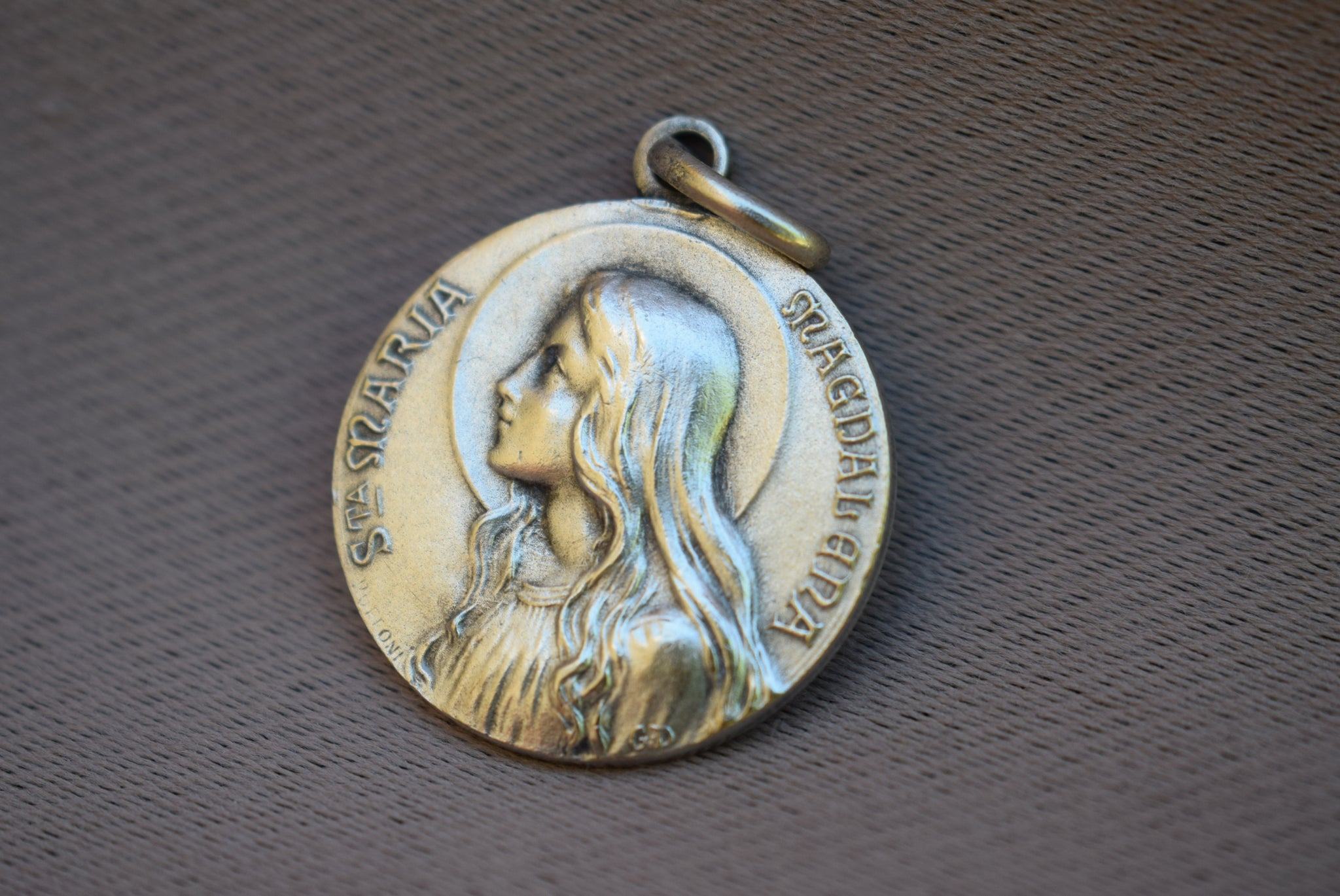 French vintage saint mary magdalene medal pendant charmantiques saint mary magdalene medal french religious antique medal pendant charm maria magdalena vezelay mozeypictures Gallery