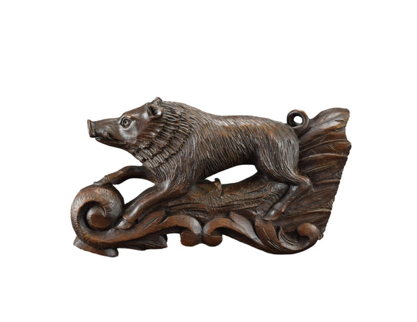 Black Forest Wild Boar Sculpture - Charmantiques