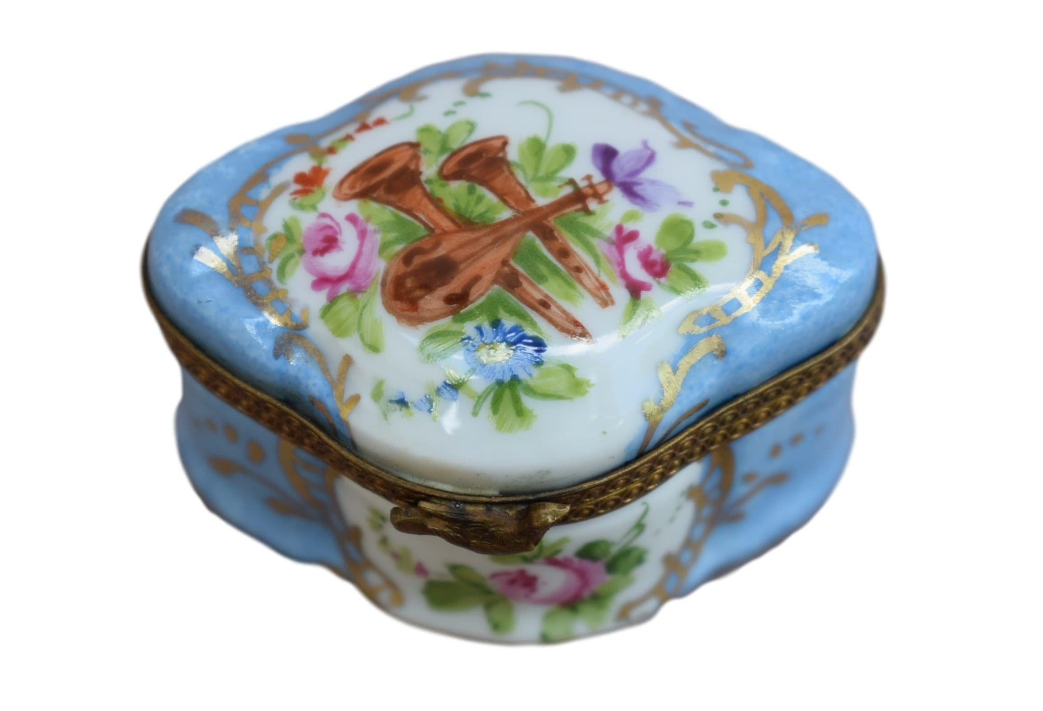 French Antique Hand Painted Limoges Porcelain Pill Box - Charmantiques