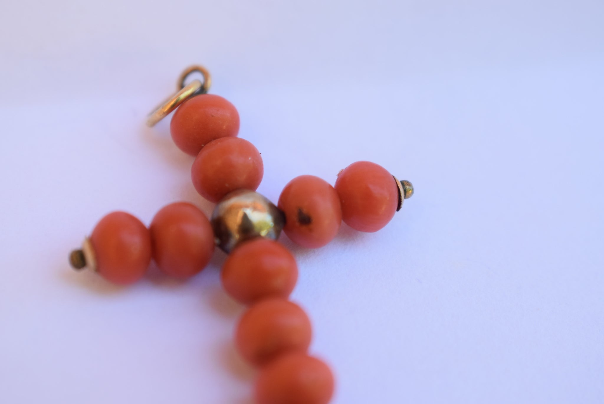 Coral Beads Cross Pendant - Charmantiques