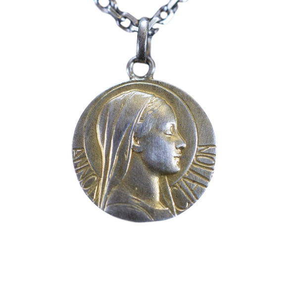 Annunciation to the Blessed Virgin Mary Medal by Emile Monier Gold Sterling Silver