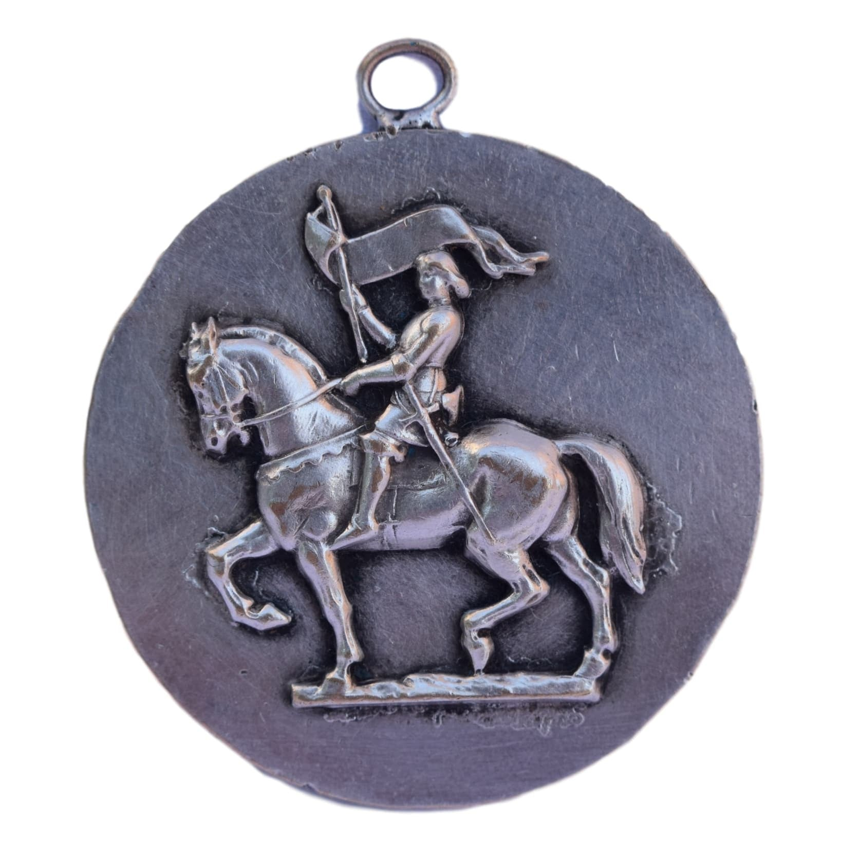 St joan arc medal charmantiques very large saint joan of arc medal french antique horseback saint joan of arc and aloadofball Gallery