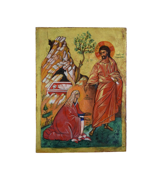Vintage Jesus & Mary Magdalene in the Garden Greek Orthodox Icon Hand Painted on Wood Noli me Tangere