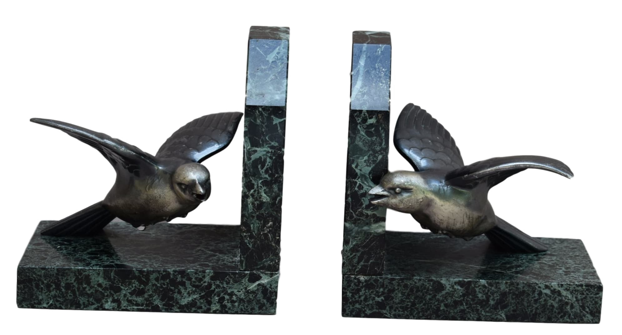 French Art Deco Pair of Silver and Marble Sparrow Bookends - Charmantiques