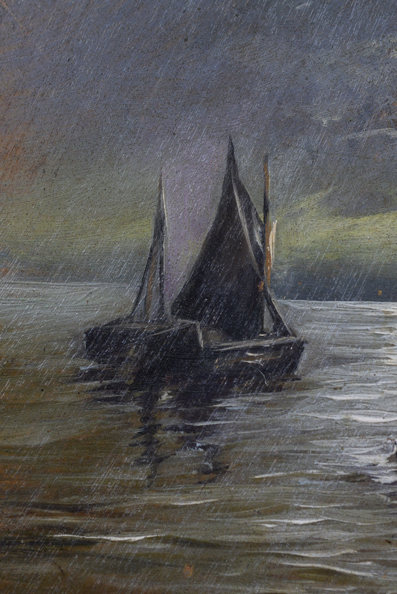 French Antique Oil Painting Seascape Sailboat Boat on Wood Artist Palette Signed