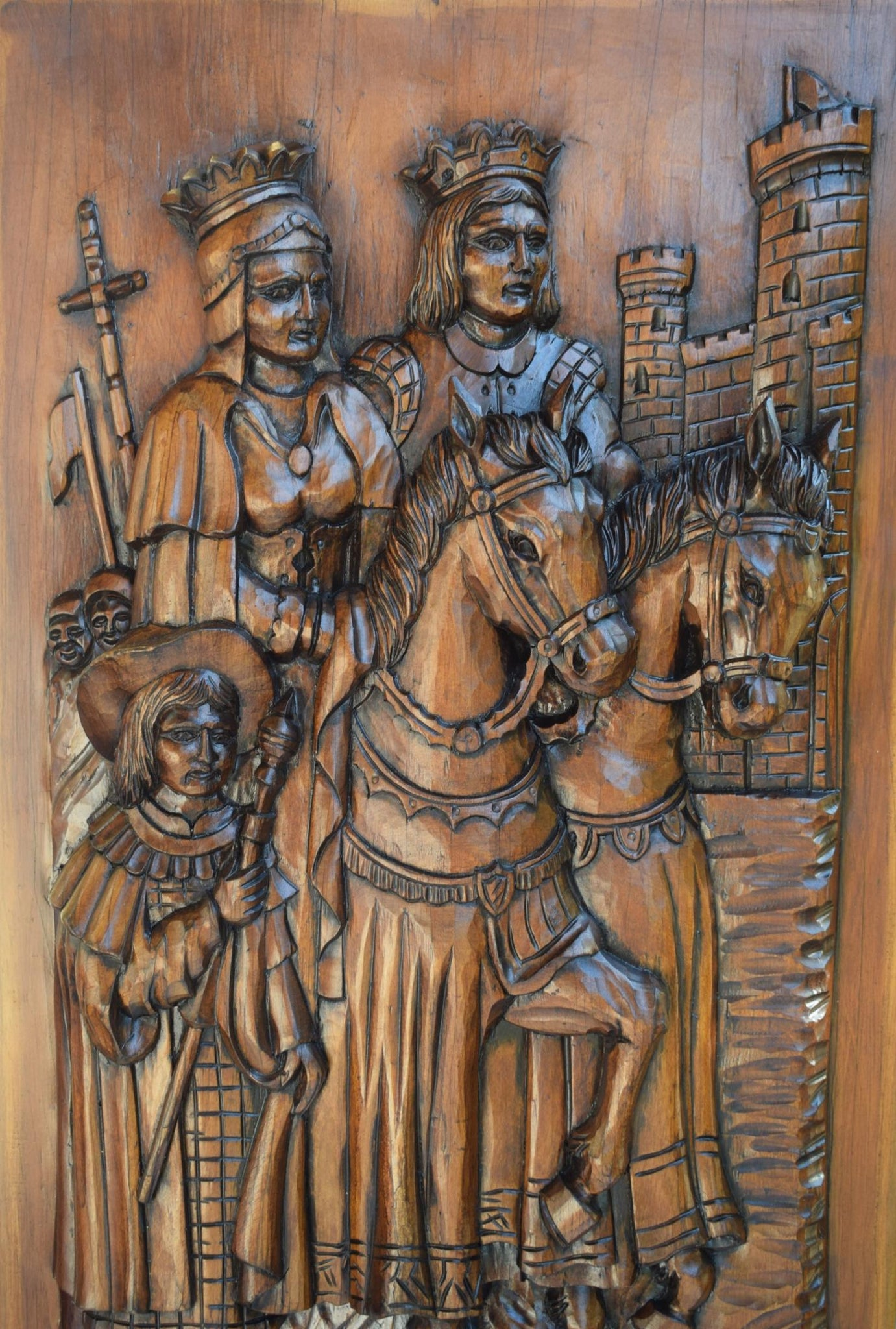 Gothic French Large Thick Carved Wood Wall Panel of French King and Queen Couple Carving Middle Ages French Chateau