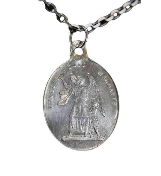 Antique French Medal Holy Guardian Angels Sterling Silver Pendant