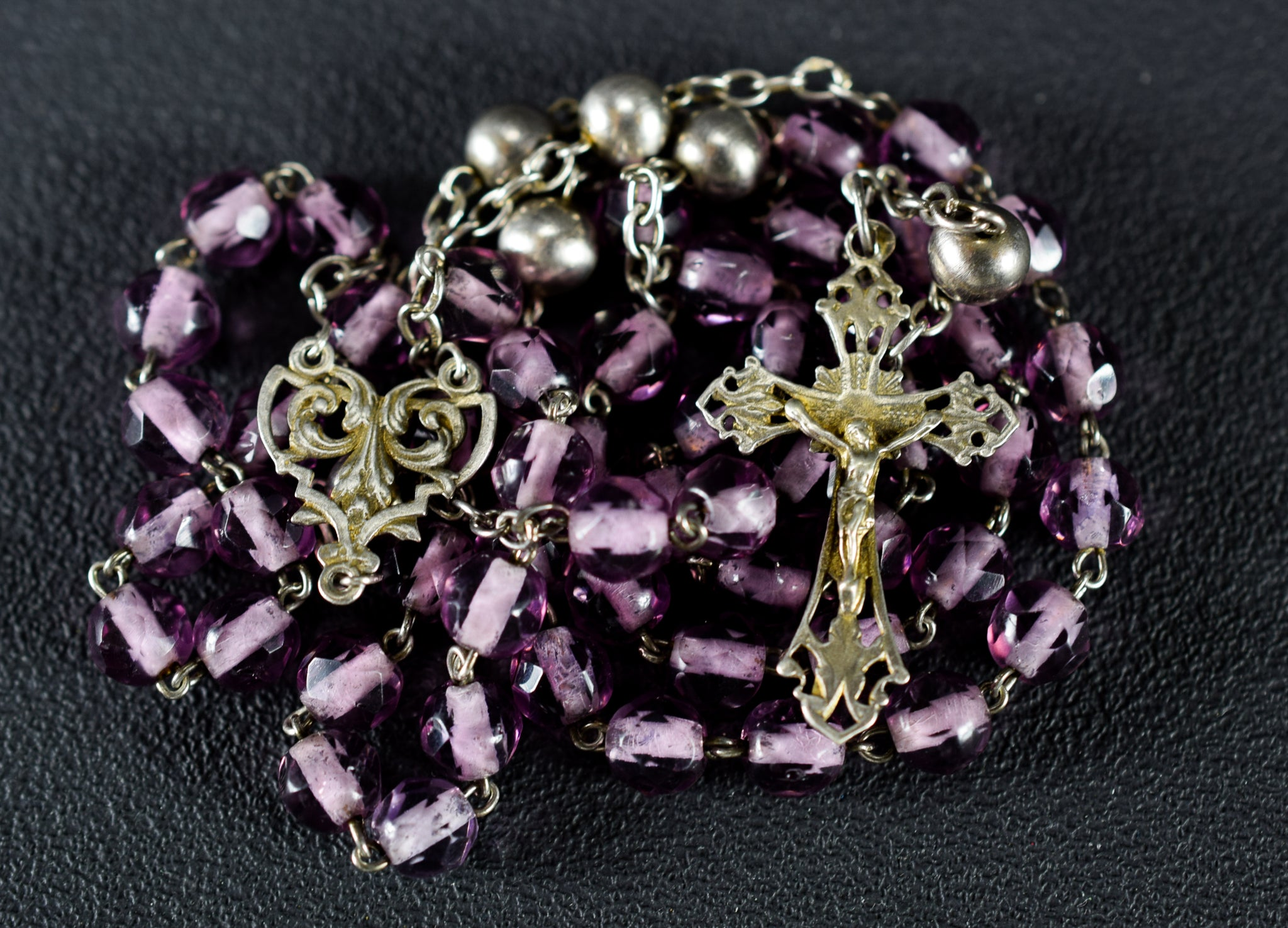 Rosary Purple Glass & Sterling Silver
