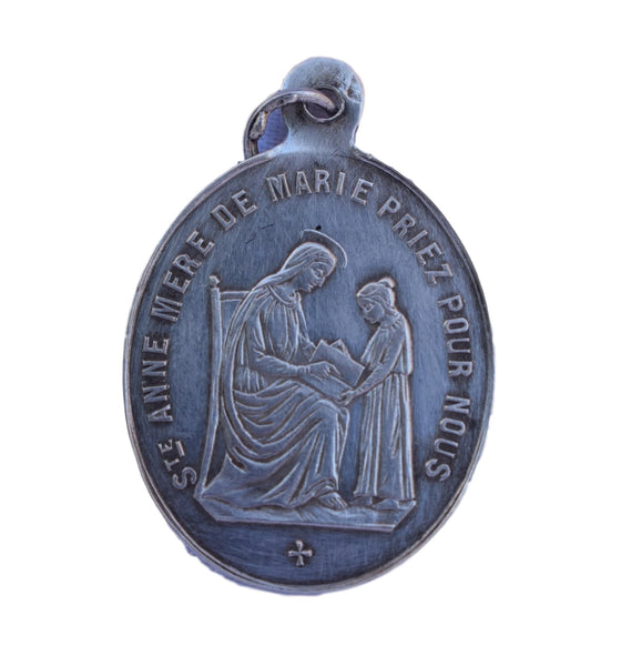 86d157c51a9 Saint Ann Medal - French Religious Silver Medal Pendant Charm - Saint Anne  Mother of Mary