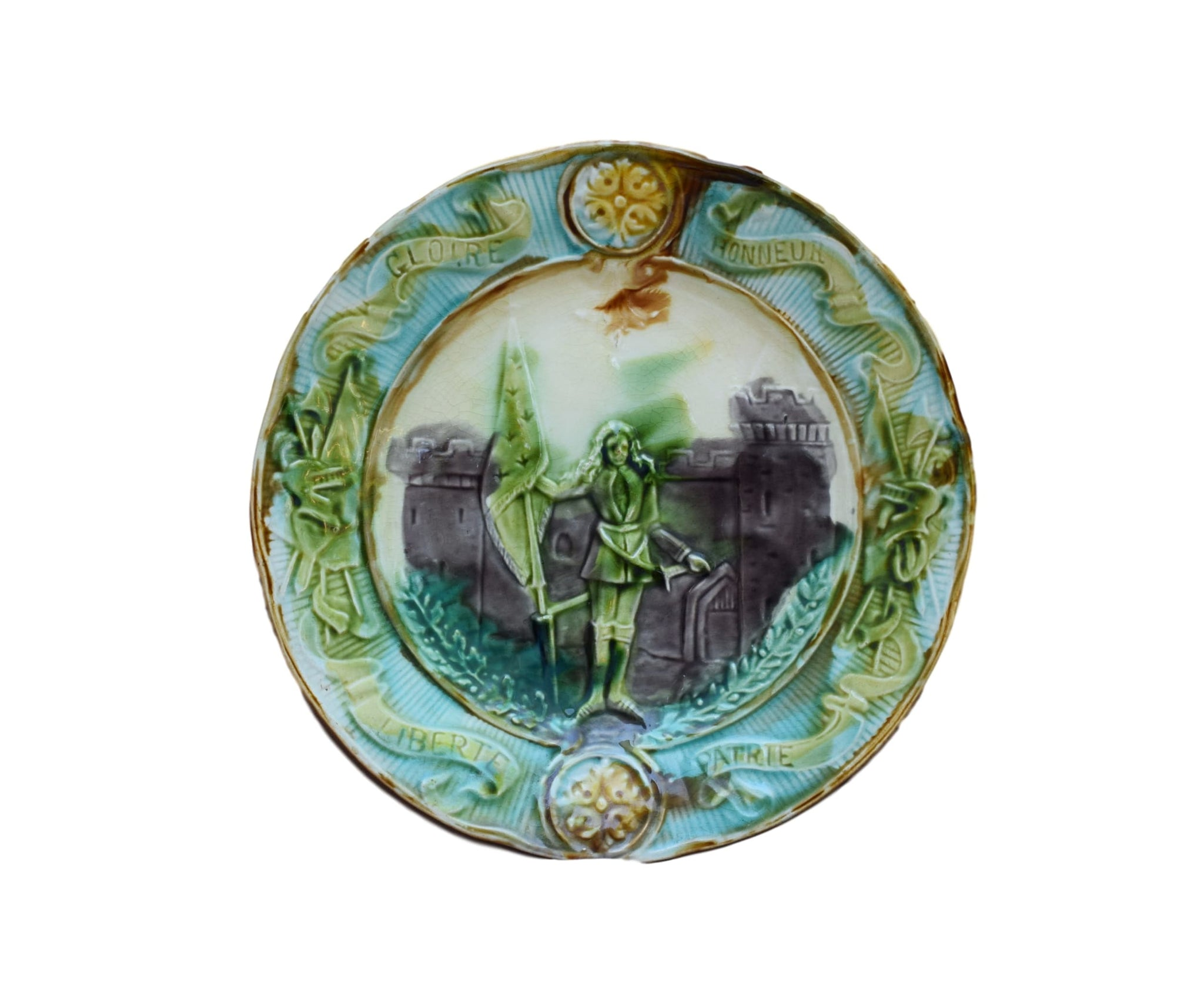 French Antique Majolica Saint Joan of Arc Wall Plate - Charmantiques