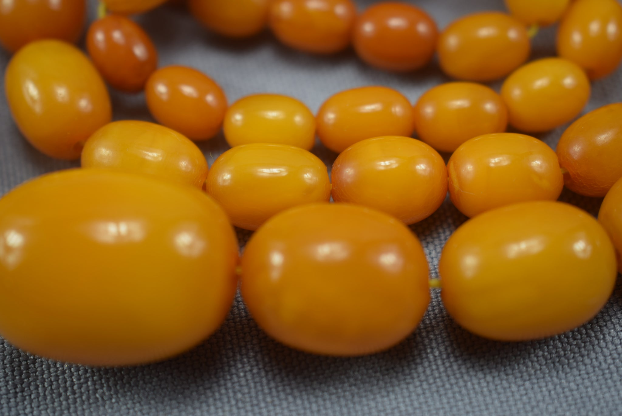 Egg Yolk Butterscotch Baltic Amber Necklace 34g - Charmantiques
