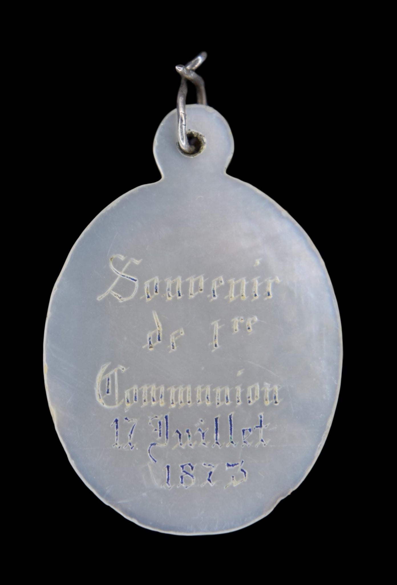 Mother of Pearl Communion Medal - Charmantiques