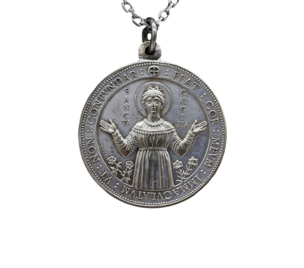 French Saint Cecile Cecilia Large Medal by Penin