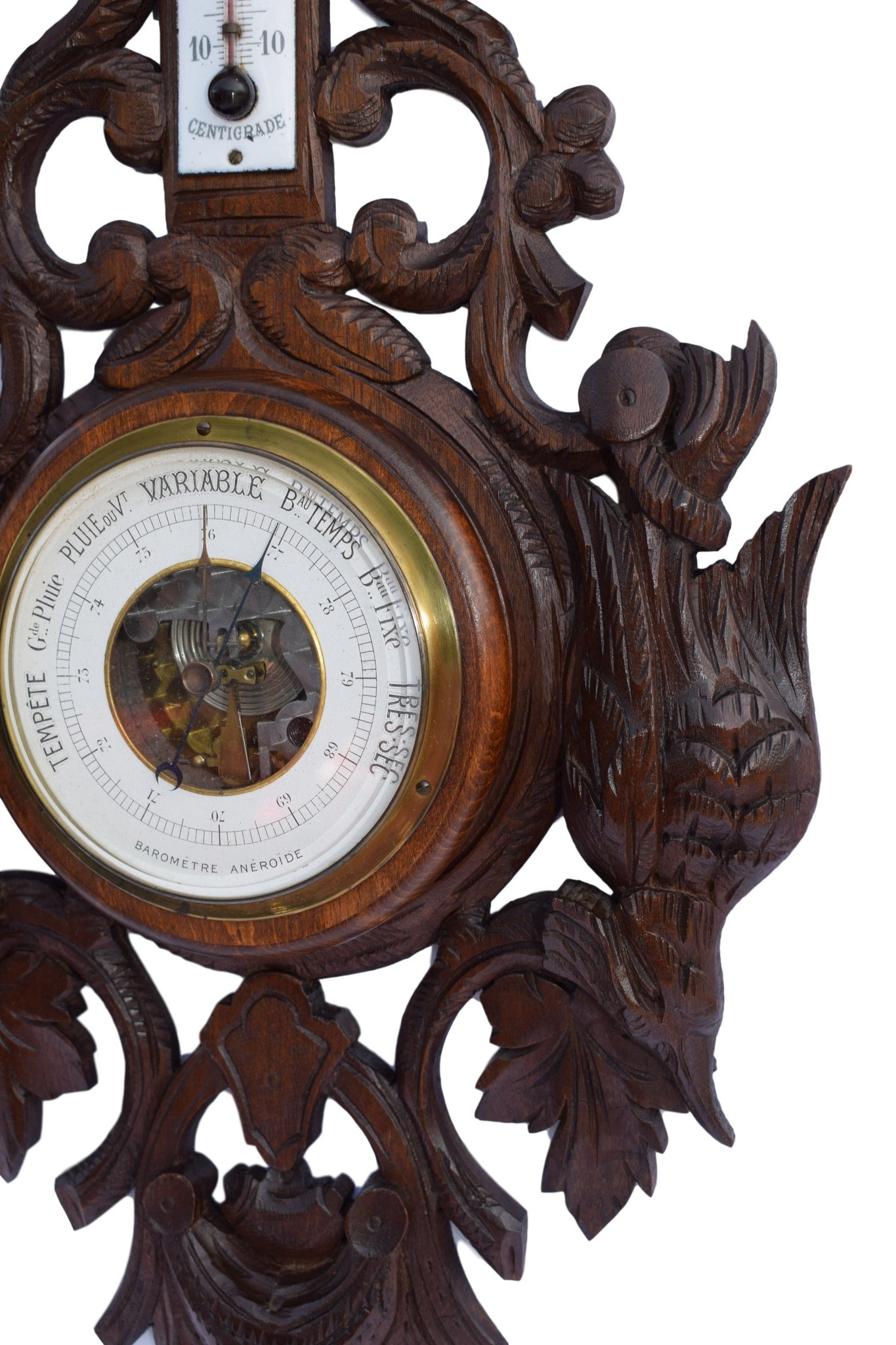 Black Forest Wooden Barometer and Thermometer - Charmantiques
