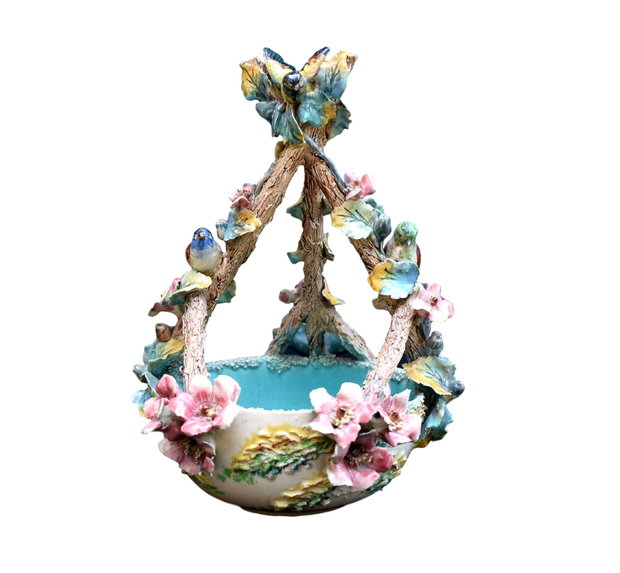 French Rare 19th.C Majolica Flowers and Birds Basket - Charmantiques