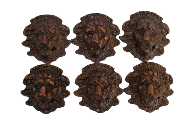 French Antique Bronze Lion Handles - Empire Lion Drawer Pull Handles - Lion Head Furniture Ornament Repurpose Supplies - 19th C Lion Bronze