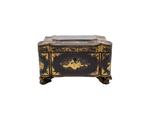Antique Asian Tea Caddy Black Gold Lacquer Box