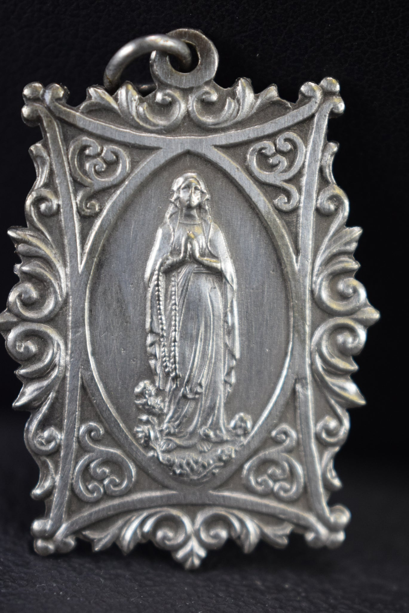 French Antique Virgin Mary Our Lady Of Lourdes Medal Pendant Charm