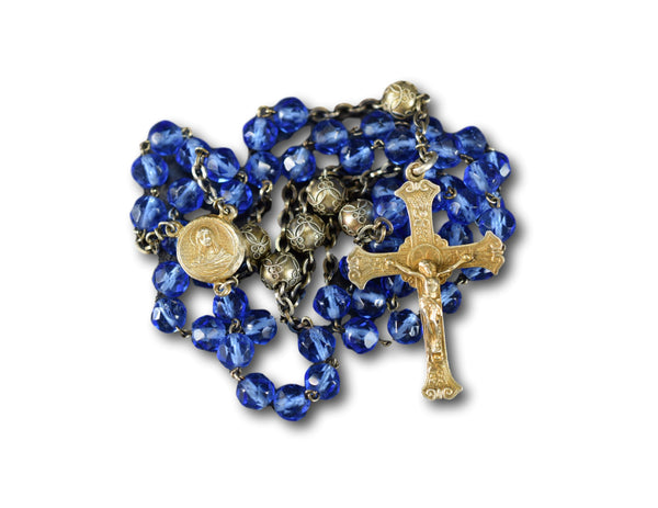 RARE Blue & Gold Sterling Silver Rosary