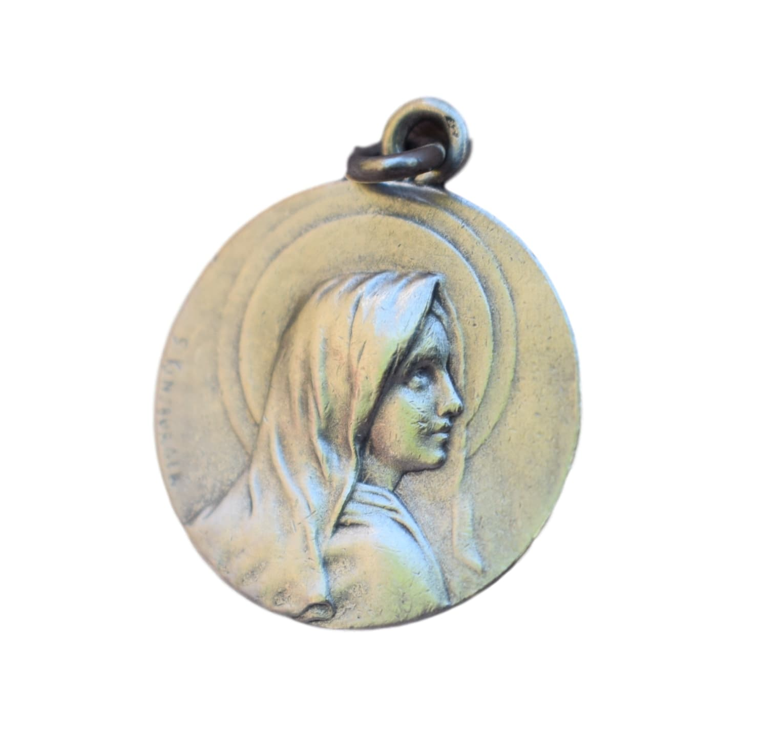 French Antique Sterling Silver Medal by Sylvain Kinsburger - Our Lady Virgin Mary Charm - Communion Baptism Gift Pendant Dated 1913