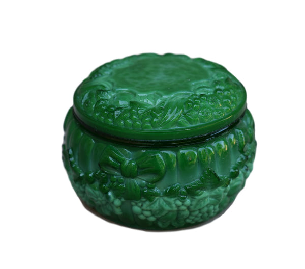 Art Deco Bohemian Heinrich Hoffman Green Malachite Opaline Glass Trinket Box - Charmantiques