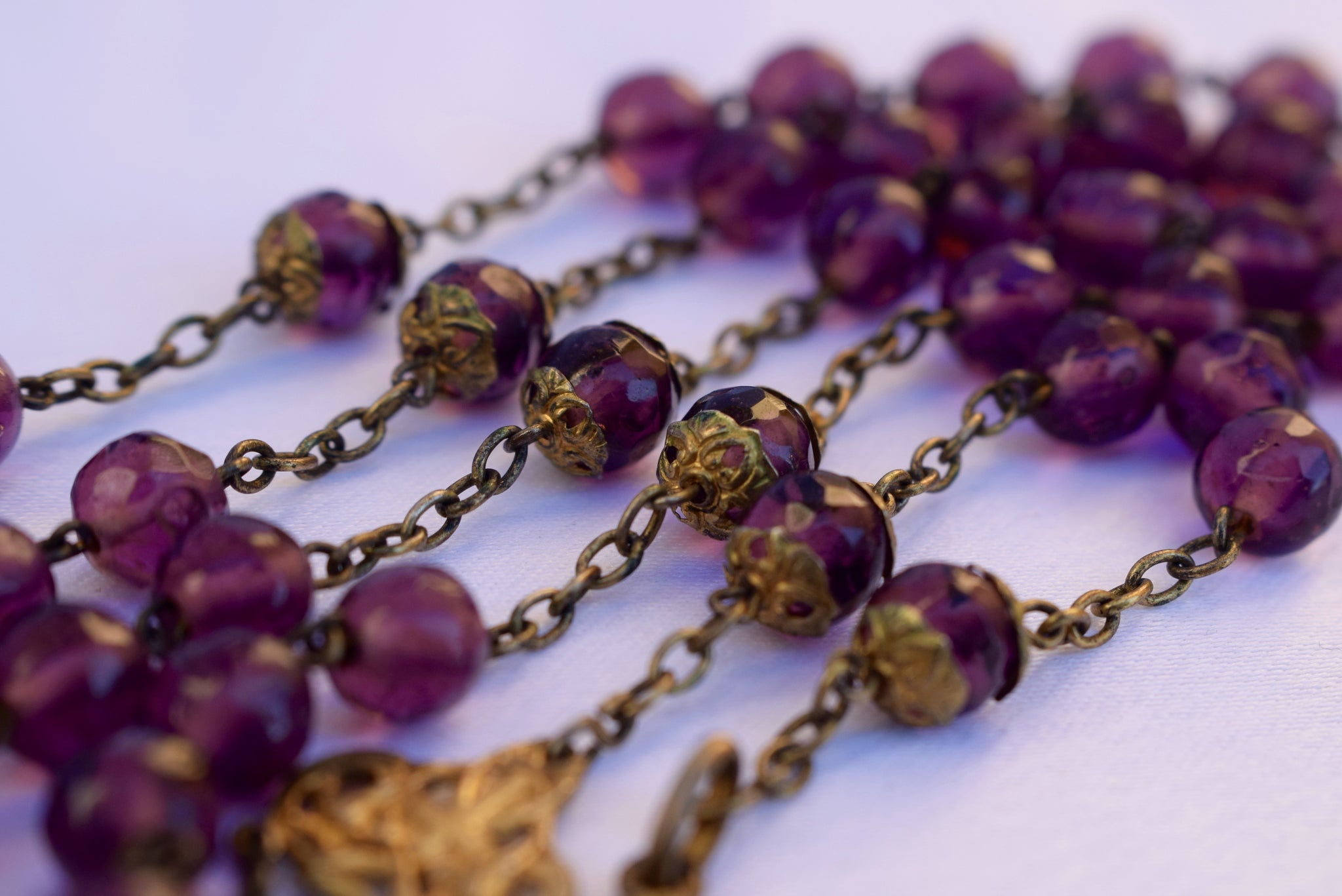 nouveau gold on sterling silver purple rosary charmantiques
