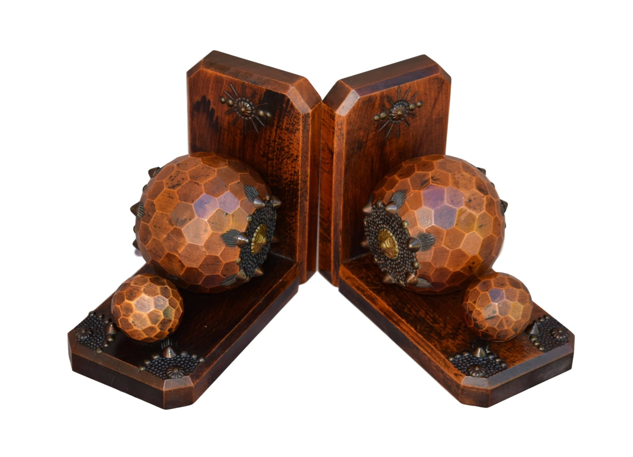 French Vintage Wooden Faceted Ball Pair Bookends - Charmantiques