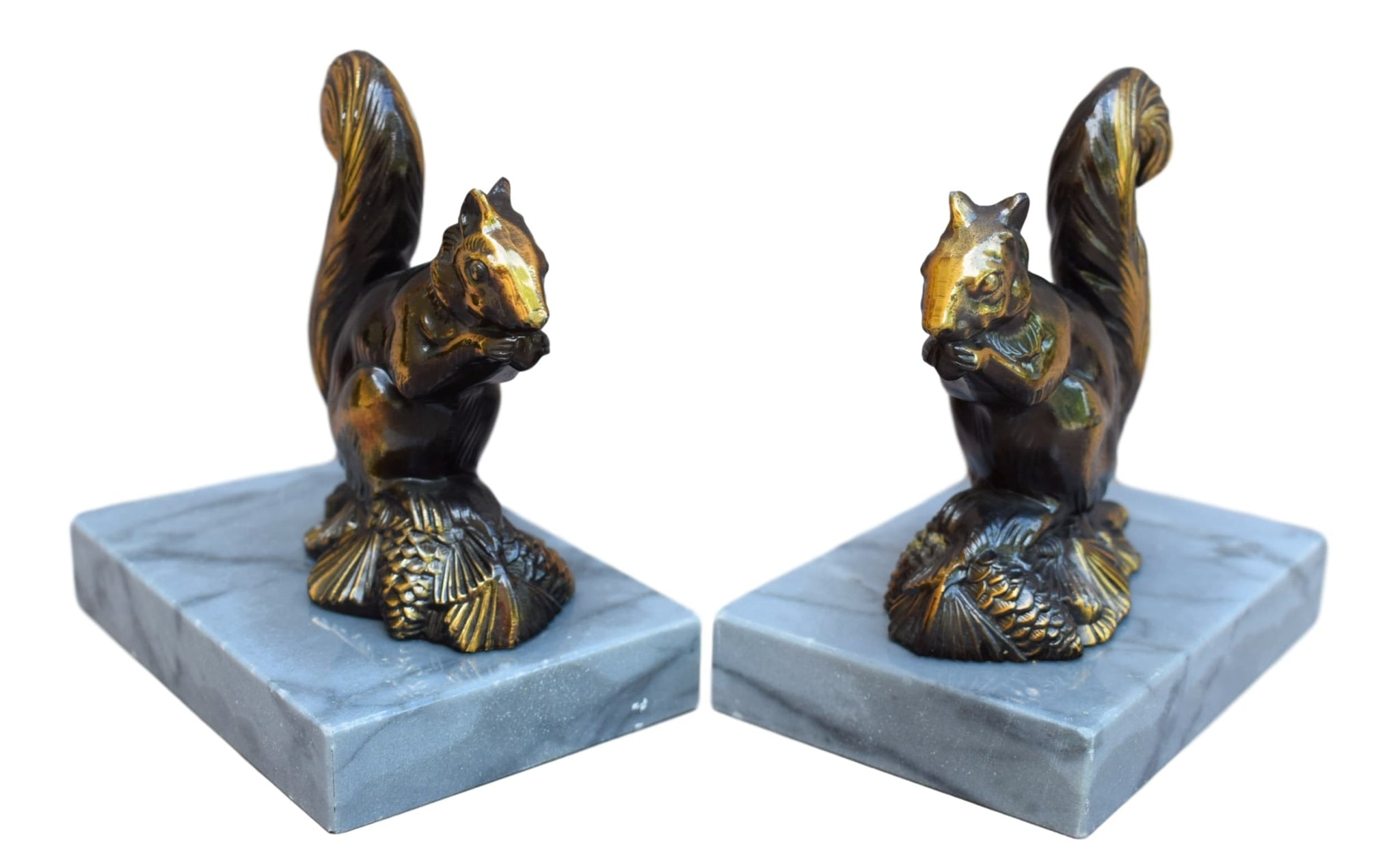 French Vintage Pair Squirrel Bookends - Charmantiques