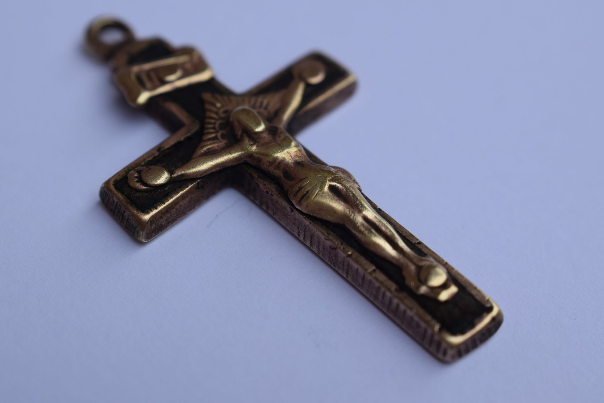 Ebony Brass Cross Pendant - Charmantiques
