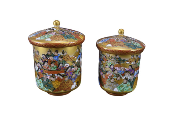 Pair of Antique Japanese Kutani Wedding Tea Cups with Lid Gold Miniature Writings 100 Poems