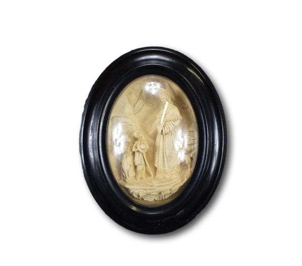 Carved Meerschaum Reliquary Frame of Our Lady of La Salette Crying Madonna