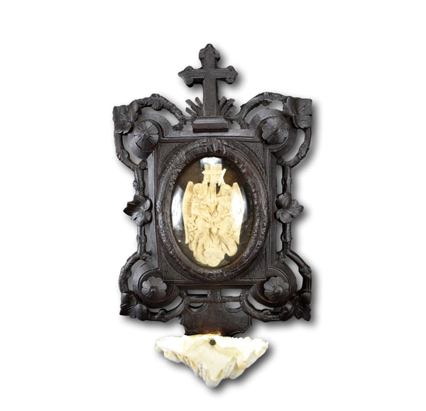 French Reliquary Hail Mary Wall Holy Water Font Carved Meerschaum Two Angels