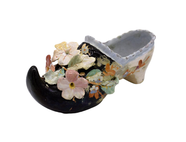 Edouard Gilles Majolica Applied Flower Clog Jardiniere Montigny sur Loing