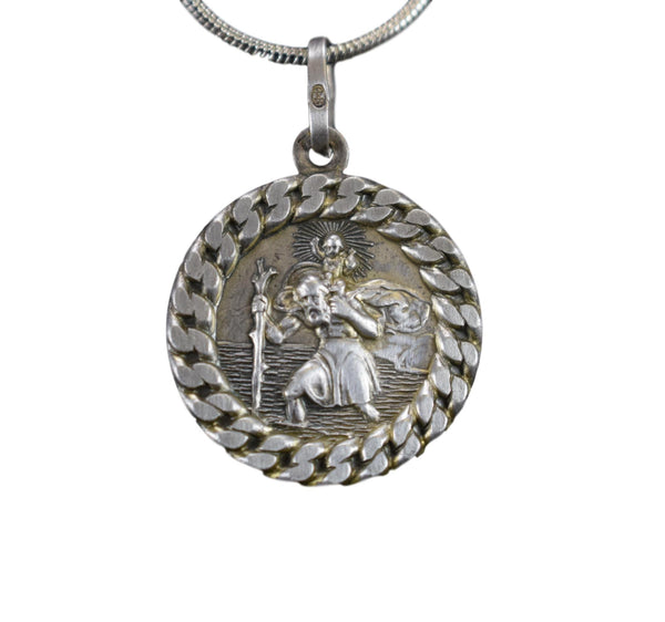 Saint Christopher 925 Silver Medal Pendant Charm Necklace for Men