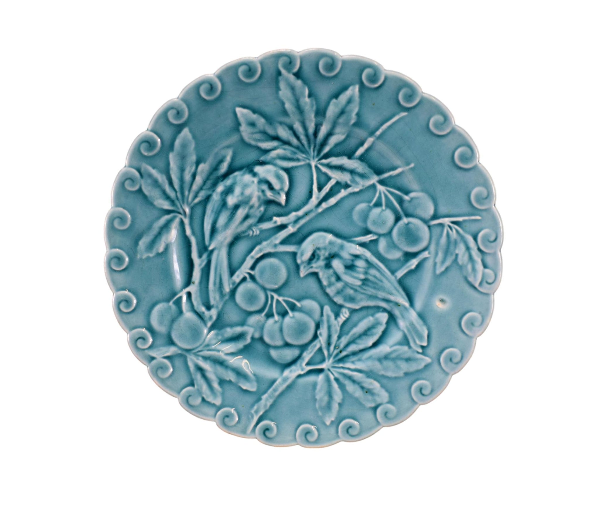 Turquoise Bird Plate Cherry - Charmantiques