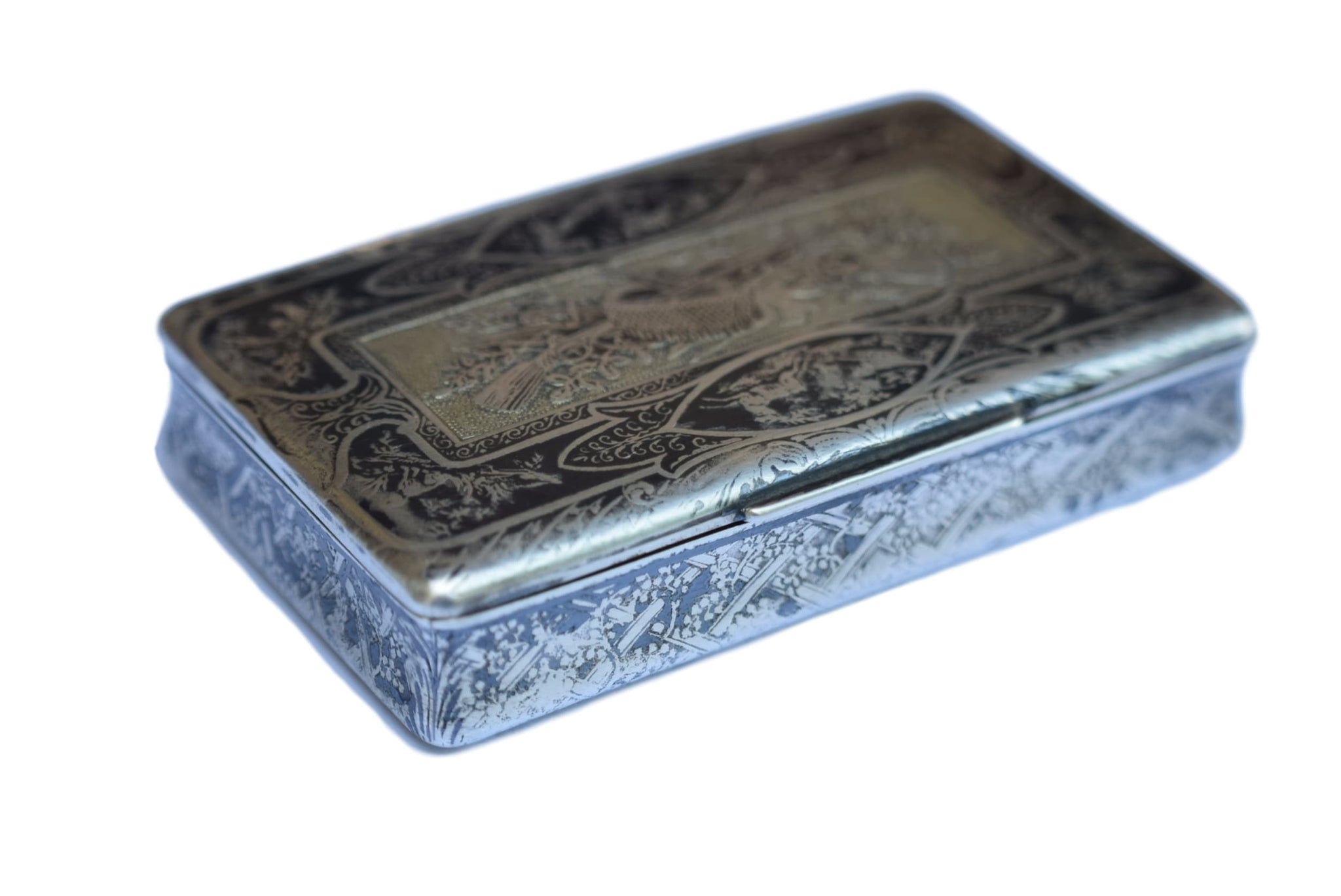 French Antique 19th.C Sterling Silver Niello Snuff Box - Charmantiques