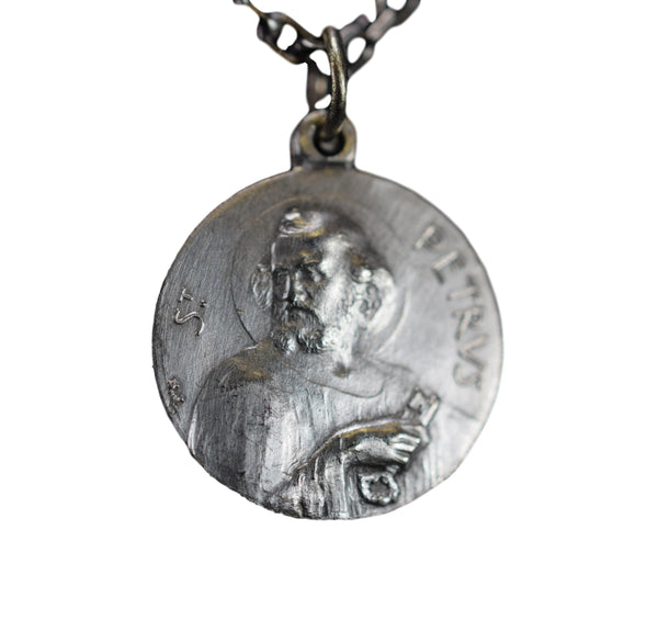 Vintage French Saint Peter Medal Pendant Pope XI