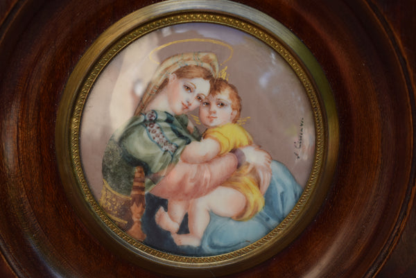 French Antique Miniature Painting on Ivory - Madonna Della Seggiola Miniature - Madonna della sedia Raphael Frame Signed