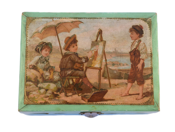 French Antique Holidays Souvenir Paris Trinket Box - Enhanced Engraving Cigar Box - Beach Children Painter Painting - Green Cigar Case