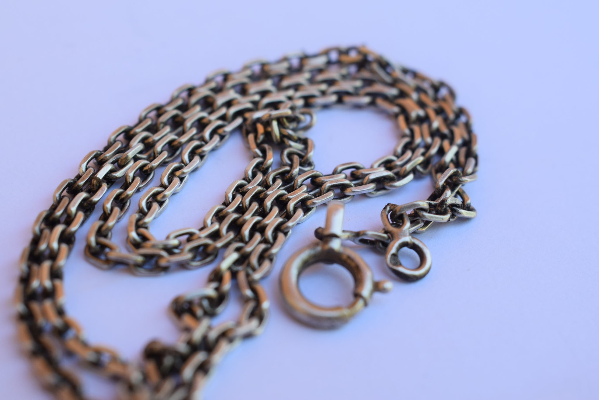 SOLD Vintage Sterling Silver Rolo Chain - Charmantiques