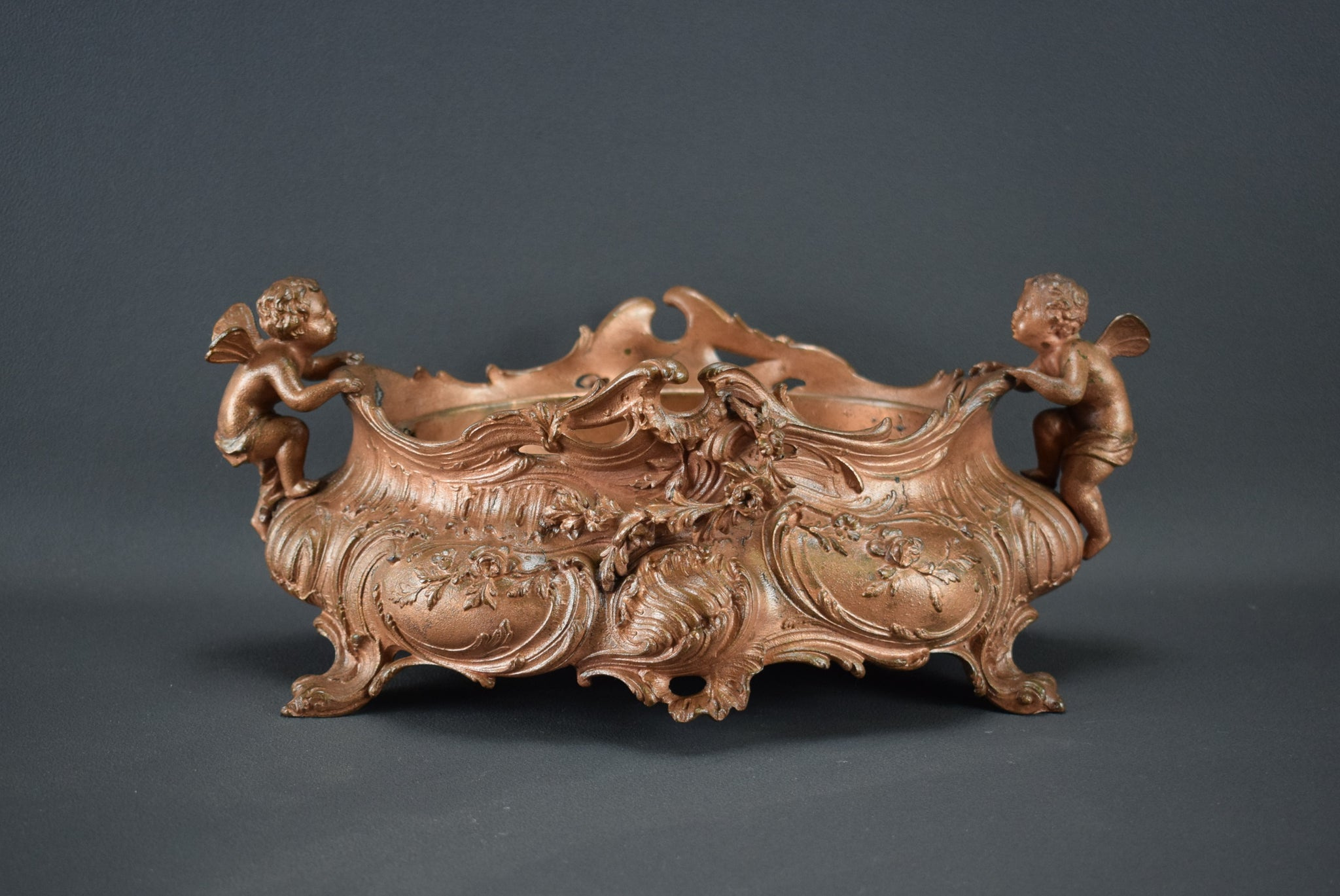 Rococo French Angels Centerpiece Jardiniere Copper Finish