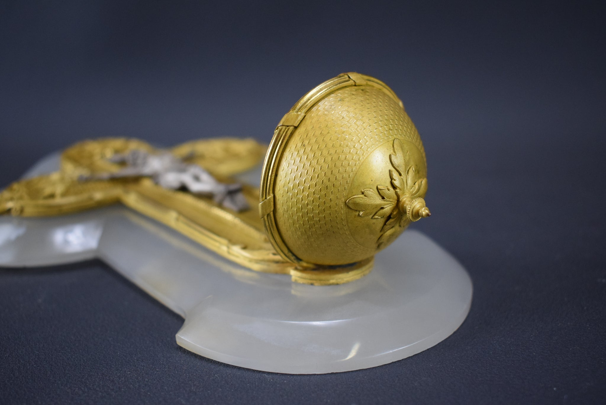 Gold and White Holy Water Font - Charmantiques