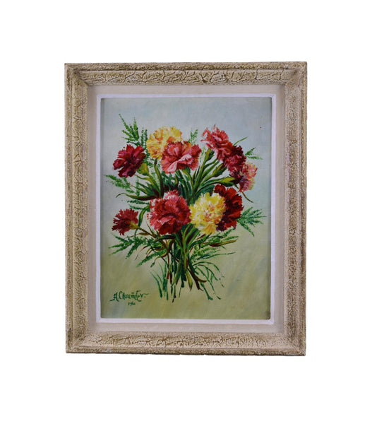 Oil Painting Bunch of Flowers Signed Floral Still Life Carnation